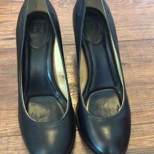 Black Leather Frye Heels 7